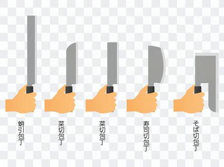 包丁を持つ手のセット2
