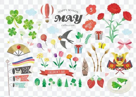 春のイラストセット 5月