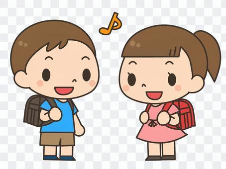 書包_男孩和女孩