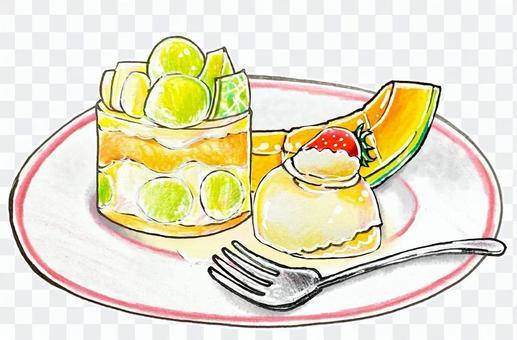 甜瓜蛋糕甜點套裝