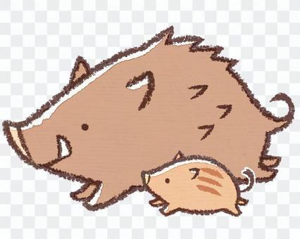 跑野豬和孩子