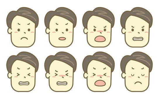 生氣的人側身臉集