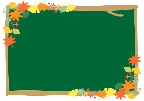 Autumn frame autumn leaves blackboard