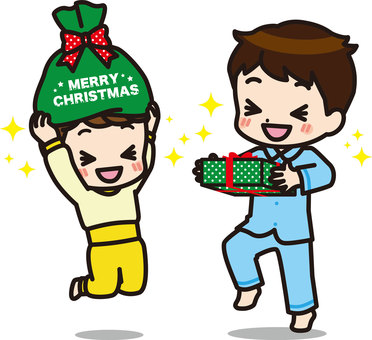 Brothers who are happy to receive a gift