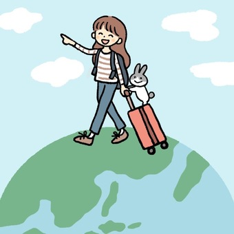 Woman traveling the world