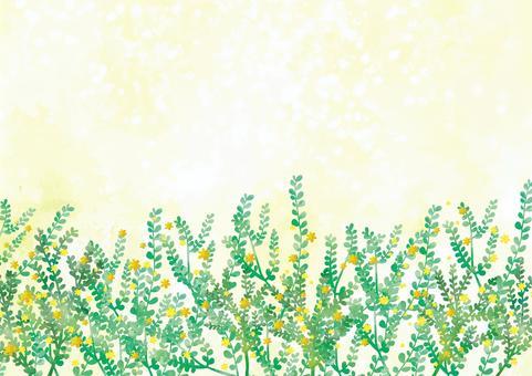 花朵的水彩風格綠色蓬鬆背景素材