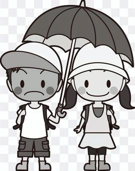 Boys and girls doing an umbrella monochrome