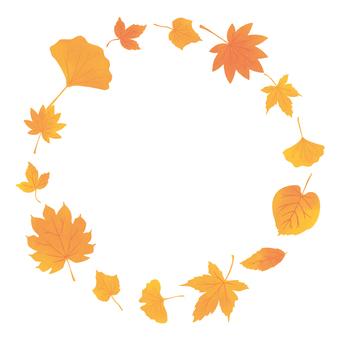 在秋天樹枯萎的下落的葉子框架跳舞