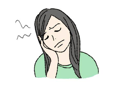 頭痛的女人沮喪的思考