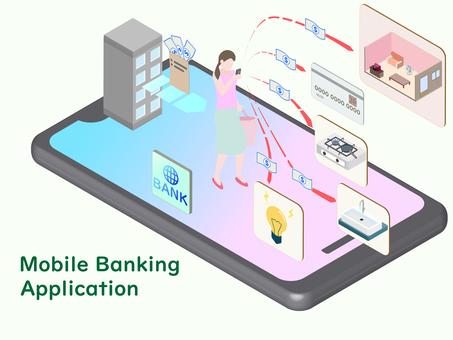 等距智能手機上的銀行應用程序