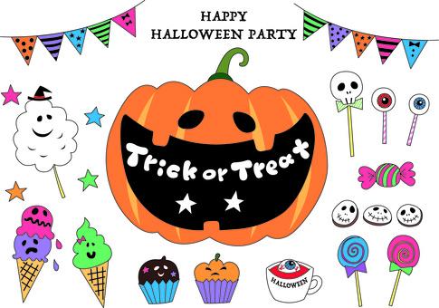 Halloween sweets illustration set