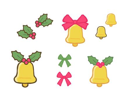 聖誕鐘聲、冬青和絲帶