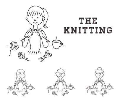男女編織的線藝術插圖