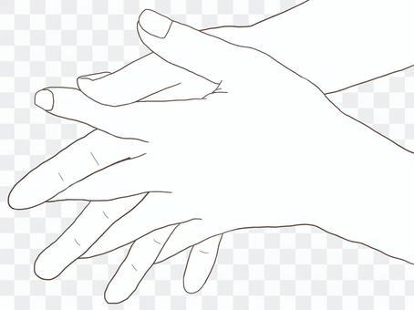 手の線画(手洗い②)