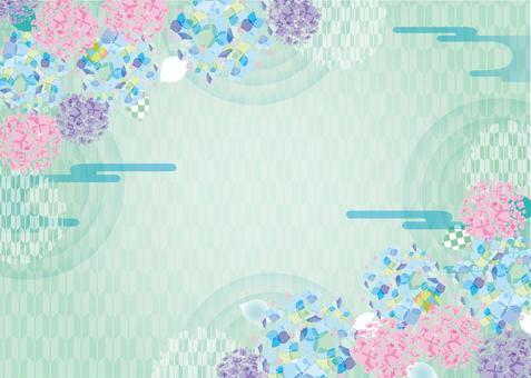 繡球花的日式背景素材