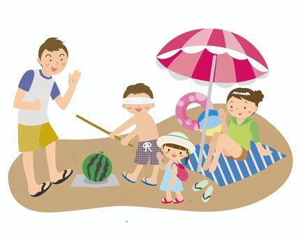 我和家人一起去海灘