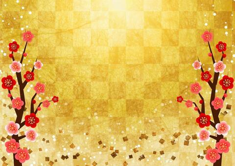 日本紙水彩格仔的圖案和梅花禮儀背景