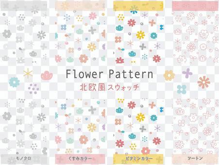 Scandinavian floral pattern swatch