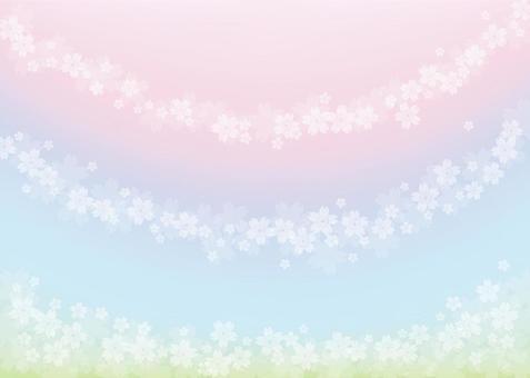 五顏六色的櫻花,背景,A4水平,與油漆