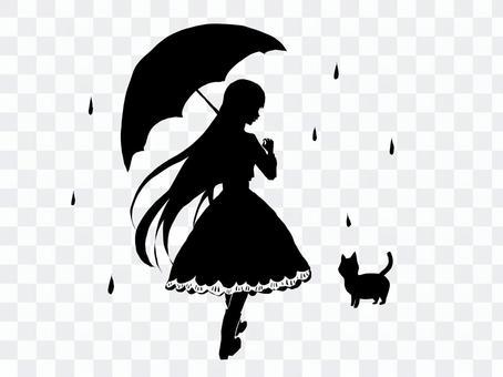 貓和女孩的剪影素材