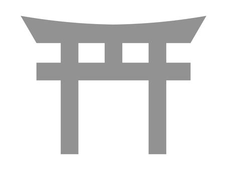簡單的神社鳥居圖標 C:石色