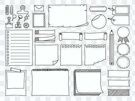手寫風格線描紙文具框架套裝