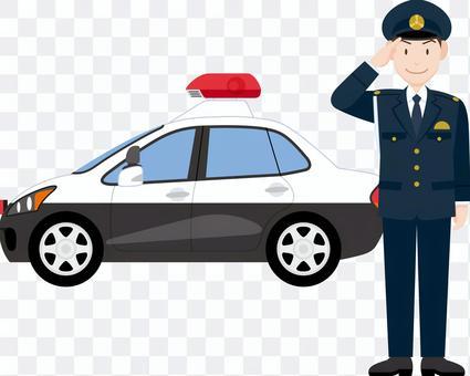 警察致敬巡邏車冬天的衣服