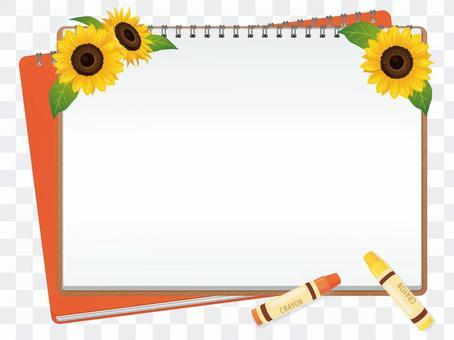 一個框架與向日葵和畫布01
