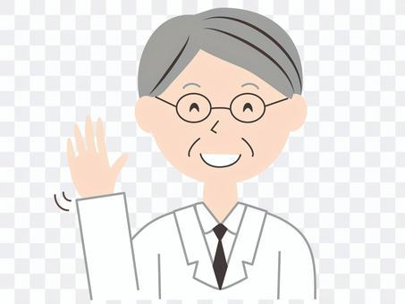一位穿老年白大褂的男醫生的問候