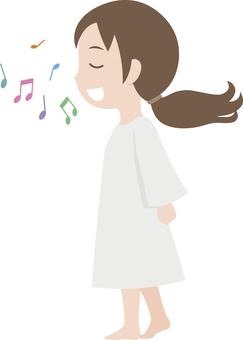 一個女孩唱歌的插圖