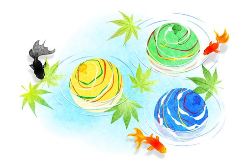 楓、金魚和溜溜球夏季問候明信片水平