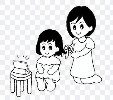 散髪する親子 白黒イラスト