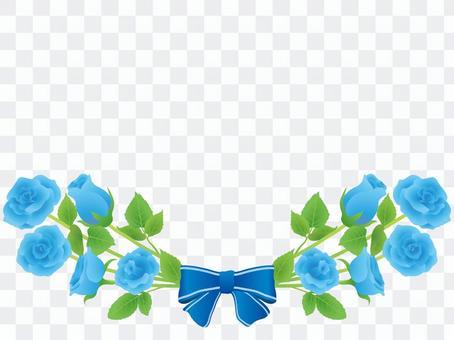 バラとリボンのフレーム 青いバラ