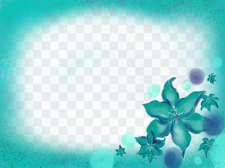藍綠色框架與百合花
