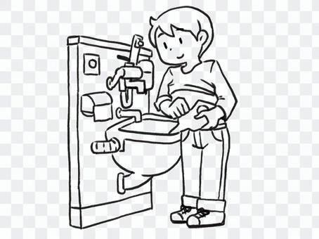 【線画】オストメイト対応トイレを使う人