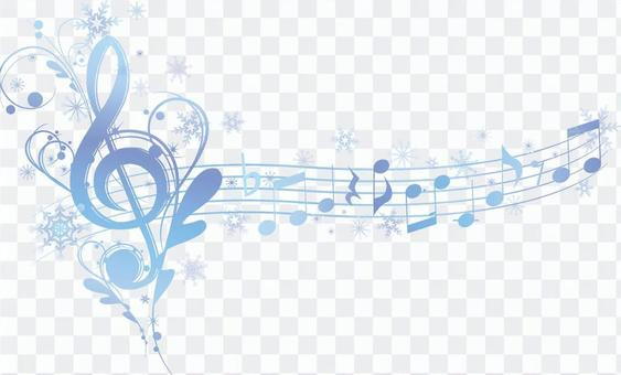 Elegant notes and sonic symbols in snow crystals