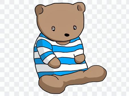 熊穿著條紋襯衫