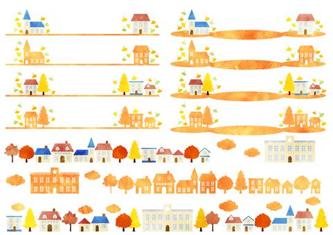 水彩風格秋季城市景觀線集