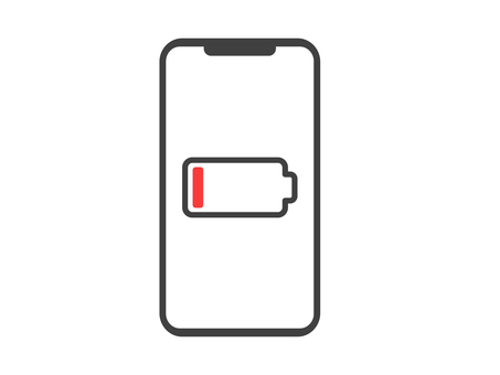 Smartphone screen with low charge