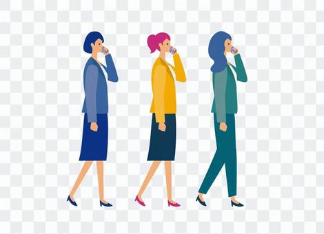 穿著西裝在她的智能手機上打個電話的女人