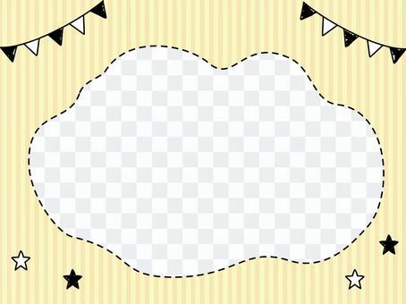 手繪國旗和星星黃色背景框架
