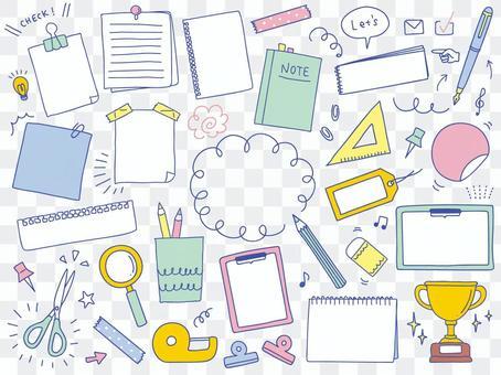 手寫的文具插圖集