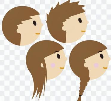 Side profile of children (tour / class)