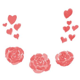 水彩手繪小心臟和紅玫瑰花