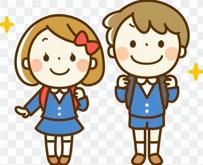 男孩和女孩在入学仪式