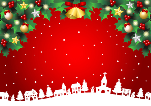 Christmas snowy cityscape red background horizontal
