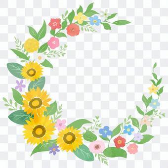 為夏日增添色彩的向日葵圓框