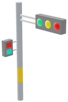 Signal pillar with pedestrian signal