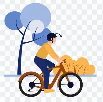 一個人在一輛自行車上採取自拍照