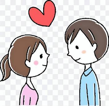 逗人喜愛的小的手畫的夫婦/男人和婦女/夫婦